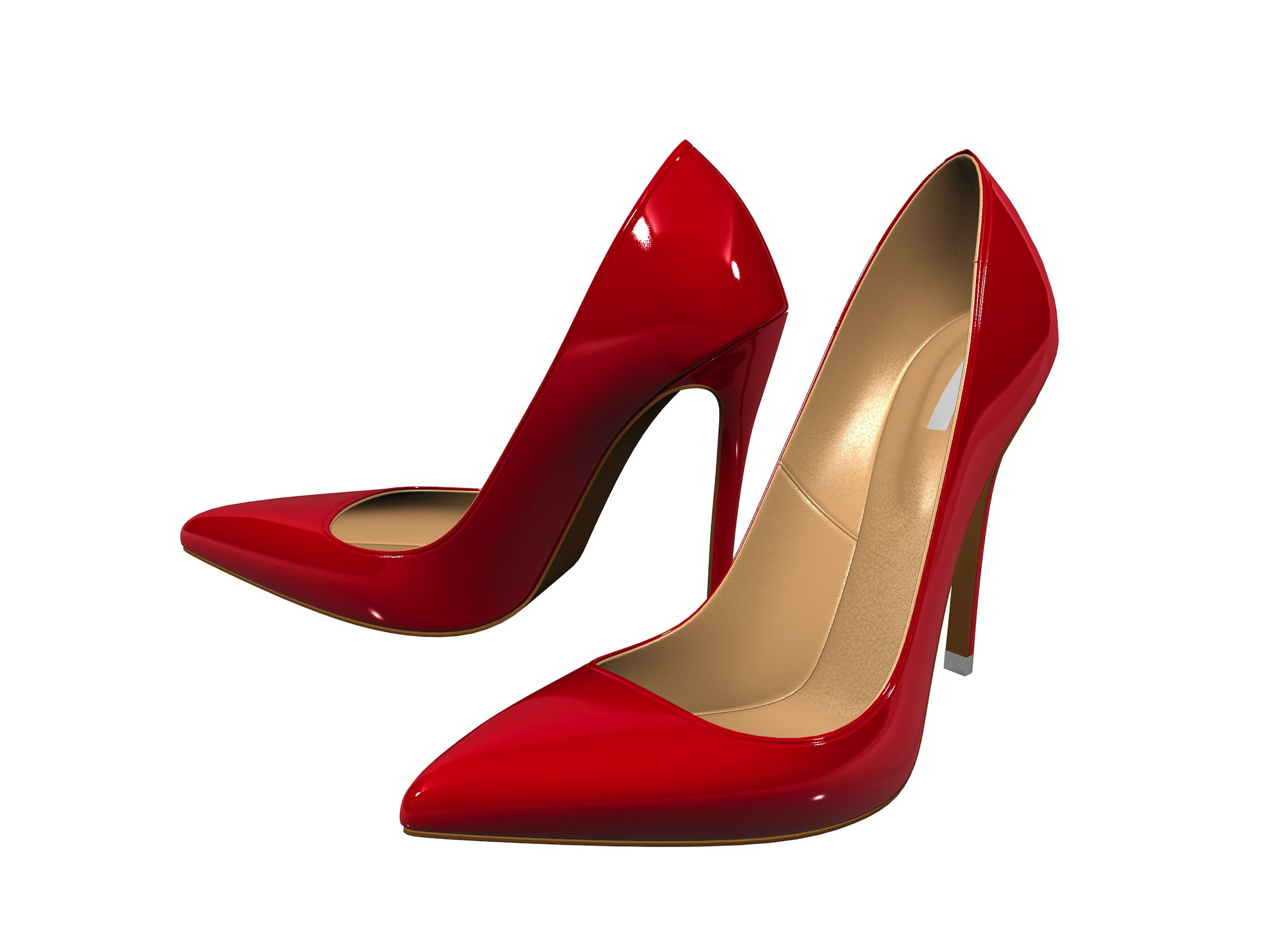 Female red high-heeled shoes over white background